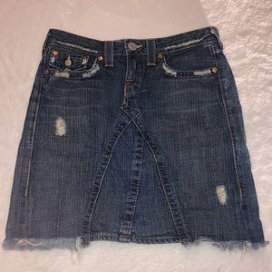 True Religion Joey distressed denim skirt
